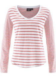 T-shirt manches longues, bpc bonprix collection, corail/blanc rayé