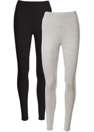 Lot de 2 leggings extensibles, bpc bonprix collection, gris clair chiné+noir
