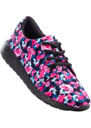 Tennis à motif fleuri, bpc bonprix collection, noir/fuchsia
