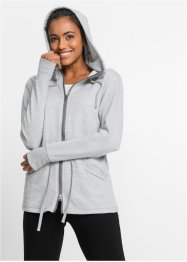 Gilet sweat-shirt de relaxation, manches longues, bpc bonprix collection, gris clair chiné