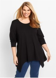Sweat-shirt finition base en pointes manches longues, bpc bonprix collection, noir