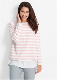 Sweat-shirt, bpc bonprix collection, rose nacré/blanc rayé