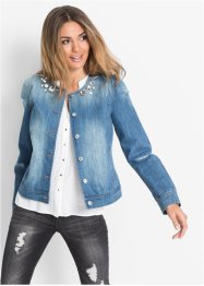 Veste en jean avec pierres décoratives, BODYFLIRT, blanc denim
