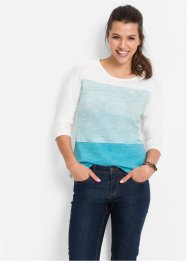 Pull fine maille manches 3/4, John Baner JEANSWEAR, menthe polaire chiné