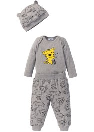 Body bébé manches longues + pantalon + bonnet (Ens. 3 pces.) coton bio, bpc bonprix collection, gris clair chiné