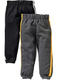 Lot de 2 pantalons matière sweat, bpc bonprix collection, noir/anthracite chiné