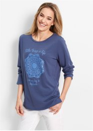 Sweat-shirt manches longues, bpc bonprix collection, indigo imprimé