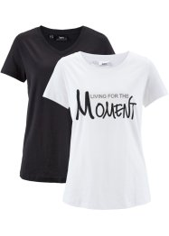 Lot de 2 T-shirts fil flammé, manches 1/2, bpc bonprix collection, blanc imprimé+noir