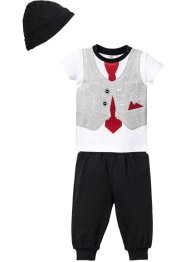 T-shirt bébé + pantalon + bonnet (Ens. 3 pces.) en coton bio, bpc bonprix collection