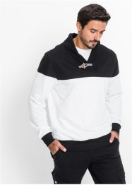 Sweat-shirt avec col châle Regular Fit, bpc bonprix collection, noir/blanc