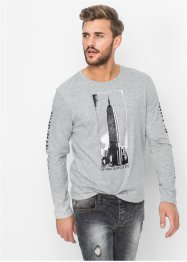 T-shirt manches longues Slim Fit, RAINBOW, gris clair chiné