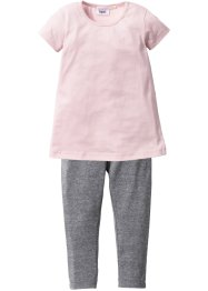 Robe + legging (Ens. 2 pces.), bpc bonprix collection, rose dragée/gris chiné