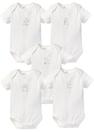 Lot de 5 bodies bébé à manches courtes en coton bio, bpc bonprix collection