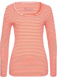 T-shirt extensible, bpc bonprix collection, rouge mandarine/blanc rayé