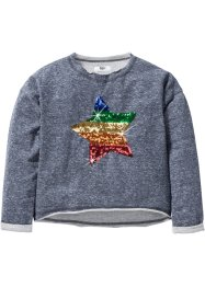 Sweat-shirt avec application en paillettes, bpc bonprix collection, gris chiné