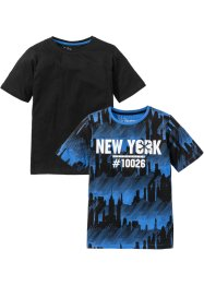 Lot de 2 T-shirts, bpc bonprix collection, bleu glacier imprimé + noir