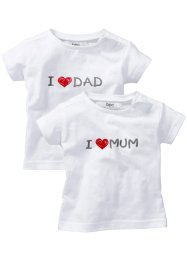 Lot de 2 T-shirts bébé en coton bio, bpc bonprix collection, blanc imprimé