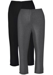 Lot de 2 leggings corsaire extensibles, bpc bonprix collection, anthracite chiné+noir