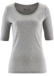 T-shirt col rond demi-manches, bpc bonprix collection, gris clair chiné