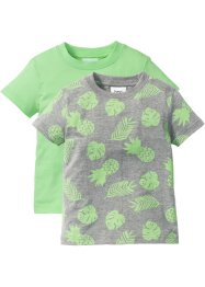 Lot de 2 T-shirts, bpc bonprix collection, gris clair chiné imprimé + menthe