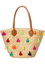 Panier en paille avec pompons multicolores, bpc bonprix collection