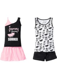 Tops + short + jupe (Ens. 4 pces.), bpc bonprix collection, noir/blanc/rose néon