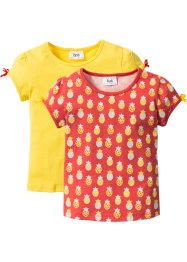 Lot de 2 T-shirts, bpc bonprix collection, capucine imprimé + jaune ananas