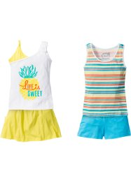 Tops + short + jupe (Ens. 4 pces.), bpc bonprix collection, blanc/multicolore/citron