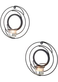 Lot de 2 bougeoirs muraux Spirale, bpc living