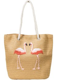 Sac de plage en paille Flamant Rose, bpc bonprix collection