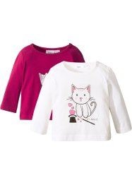 Lot de 2 T-shirts bébé à manches longues en coton bio, bpc bonprix collection