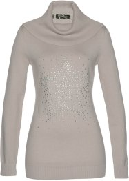 Pull col roulé à strass appliqués, bpc selection