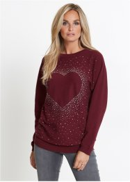Pull long avec cœur et application de strass, bpc selection
