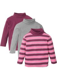 Lot de 3 T-shirts col roulé, bpc bonprix collection