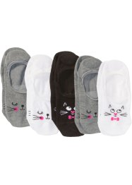 Lot de 5 paires de chaussettes invisibles à tête de chat, bpc bonprix collection