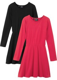 Lot de 2 robes à manches longues en jersey fille, bpc bonprix collection
