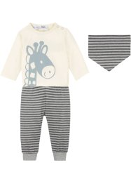 T-shirt bébé + pantalon + foulard  (Ens. 3 pces.) coton bio, bpc bonprix collection