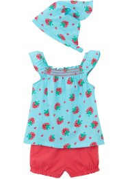 Top bébé, short, foulard (Ens. 3 pces.) coton bio, bpc bonprix collection