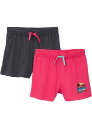 Lot de 2 shorts fille en jersey en coton bio, bpc bonprix collection