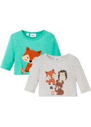 Lot de 2 T-shirts manches longues bébé coton bio, bpc bonprix collection