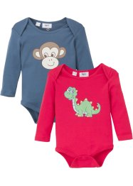 Lot de 2 bodies bébé manches longues en coton bio, bpc bonprix collection