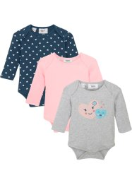 Lot de 3 bodies bébé manches longues en coton bio, bpc bonprix collection