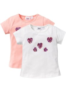Lot de 2 T-shirts à paillettes, bpc bonprix collection, corail clair+blanc cassé