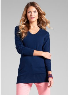 Pull long en maille fine, bpc bonprix collection, bleu foncé