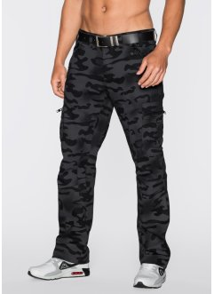 Pantalon cargo Baggy Fit Straight, RAINBOW, Pantalon noir imprimé