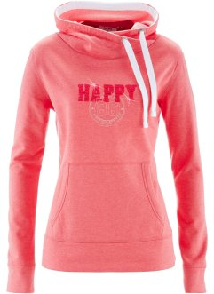 Sweat col roulé, bpc bonprix collection, fuchsia clair chiné imprimé