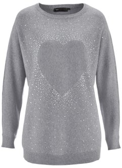 Pull long à strass appliqués, bpc selection, gris chiné