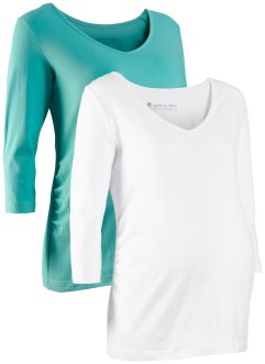 Lot de 2 T-shirts manches 3/4 de grossesse en coton bio, bpc bonprix collection