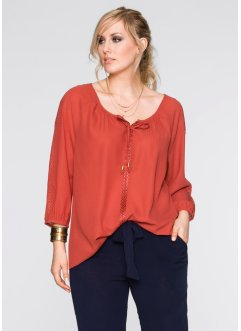 Blouse avec application dentelle, BODYFLIRT, marron marsala