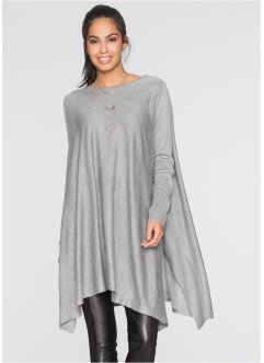Pull long, BODYFLIRT, gris clair chiné